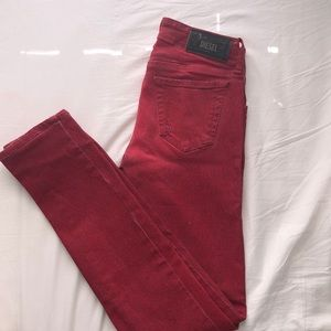 Diesel Low Waisted Red Skinny Jeans